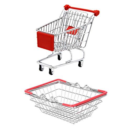 Hemoton Mini Carrito de Supermercado de Acero Inoxidable Carrito de Supermercado Metal Hierro Arte Carrito de Compras Creativo Francés Freír Cesta Titular 14. ¡5X10! 5Cm