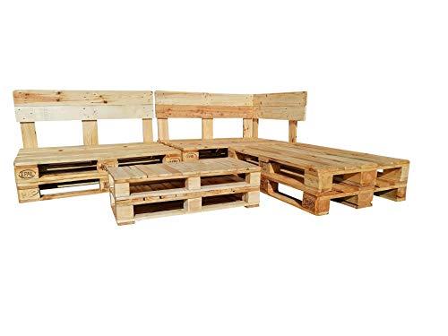 ESTRUCTURA SOFÁ CHAISE LONGUE -Set de Muebles con Palets para Jardin, Terraza, Patio echo con palets de madera