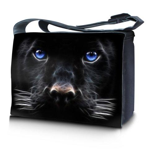 Luxburg® Design Messenger Bag Notebooktasche Umhängetasche für 17,3 Zoll, Motiv: schwarzer Hund mit blauen Augen