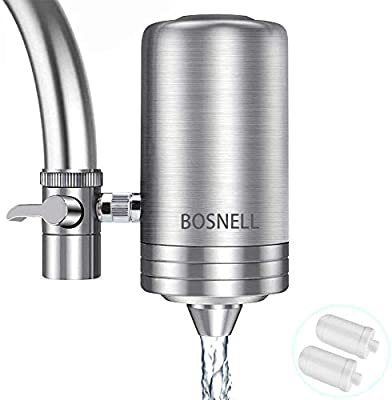 Faucet Water Filter, 304 Stainless-Steel Filtration System, Large Water Flow, Water Purifier, Reduce Chlorine, Lead Reduction, Double Outlet, Fits Standard Faucets (2 Filter Cartridges Included)