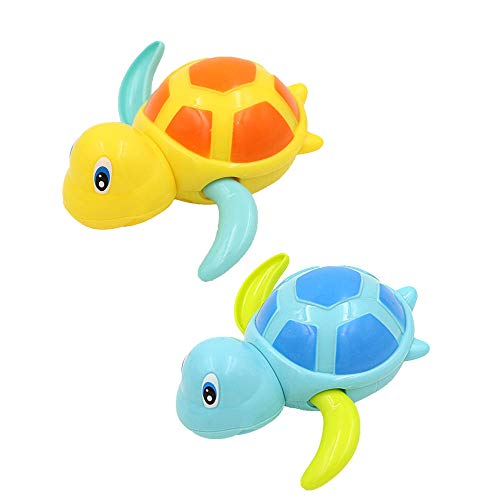 Cute Fish Baby Bath Toys Turtle Bathtub Toys Fun Multi Colors Floating Animal Toy Kids Toddlers Child Pool Swimming Clockwork Water Gadget Boys Girls-blue_&_orange_tortoise