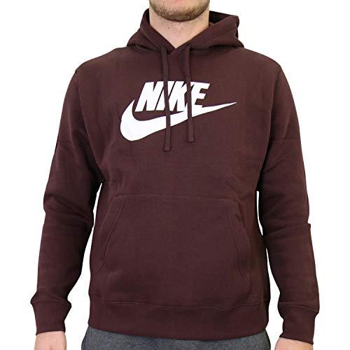 Nike Sudadera de forro polar con capucha para hombre, talla L, color burdeos