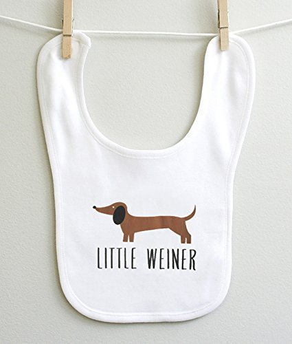 Little Weiner Dachshund Boy Girl Infant Baby Burp Bib 2 Ply 100% Cotton