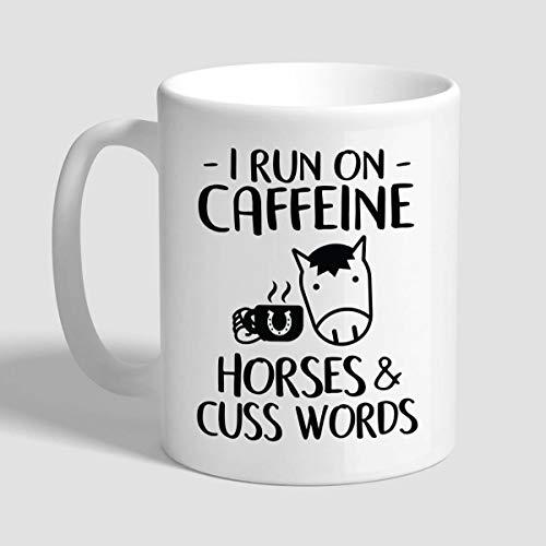 N\A Corro con cafeína Caballos y palabrotas, Regalos para Amantes de los Caballos, Taza de Caballo, Taza de Caballo Divertida, Taza de Caballo