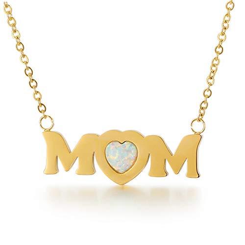 Qings Collar con letra MOM de ópalo, Chapado en Oro de 18 Quilates con Amor Corazon Mamá Colgante Collar Regalo de Joyería para Mujeres