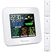 "HOCOSY Wireless Wetterstation, 3 Kanäle Digital In & Outdoor Hygrometer Thermometer Mit 3 Außensensor, Weiß, 2,4""x 5,9"" x 5,1 …"