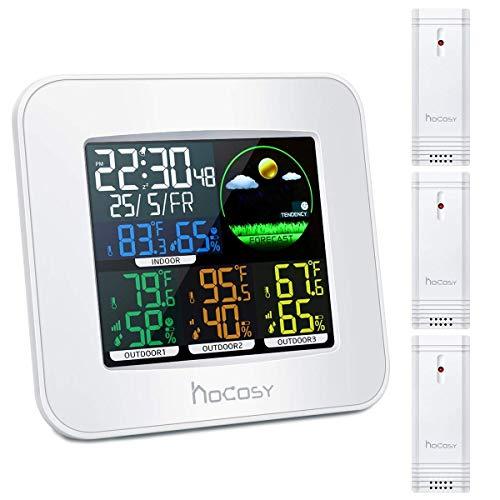 HOCOSY Station Météo, avec 3 Capteurs Extérieur, Station Météo Thermomètre Hygromètre Numériques Intérieure/Extérieure avec Capteur sans Fil, Utilisation avec Batterie ou USB, Écran Couleur