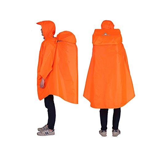 Adventure World Globotrekker Lightweight Backpack Poncho (Multiple Color Options Available) (Amber Orange)