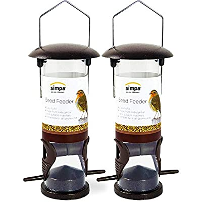 SIMPA? (Pack of 2) 2 x Classic Wild Bird Feeder Seed Feeder - With Hanger, 22cm Tall (Anti-Spill) from SIMPA?