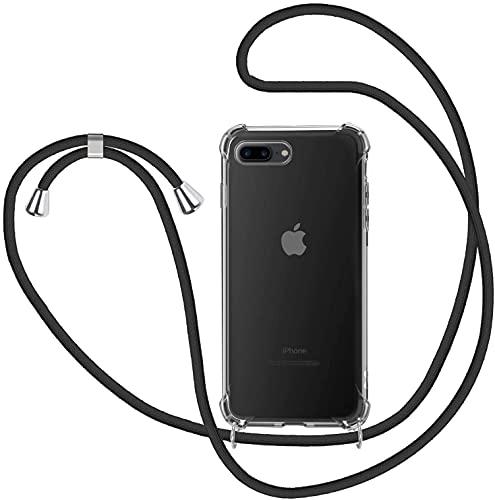 ICOVERI Funda con cordón Compatible con iPhone 6S/7/8/SE Color Negro. Funda Transparente Reforzada Antigolpes TPU, Cordón Ajustable Cuello.
