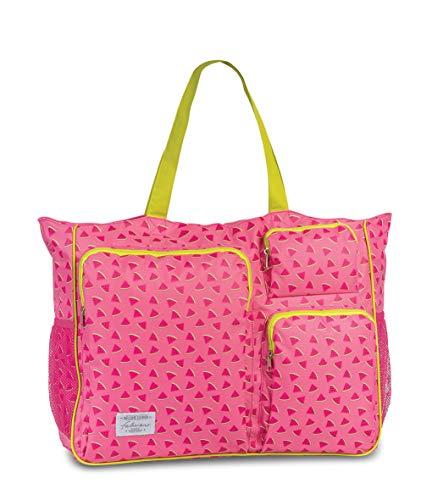 Fabrizio Strandtasche groß XXL viele Taschen Urlaubstasche Freizeittasche Sommer mit Reißverschluss (Rosa/Melone)