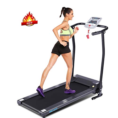 ANCHEER Treadmill, Folding Electric Treaadmills with LCD Display and Pulse Rate Grips Smooth Quiet Driven for Home Home Gym Workout Fitness