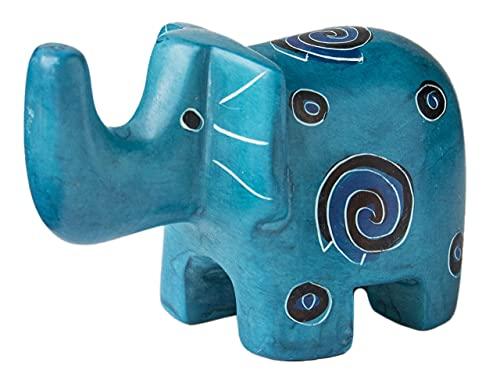 Mr. Ellie Pooh Handmade Fair Trade Soapstone Carved Light Blue Elephant - Figurine/Sculpture
