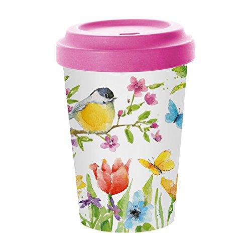 PPD Spring Bird Coffee-To-Go Becher, Kaffeebecher, Pappbecher, Trinkbecher, Bambus-Silikon, Bunt, Ø 9 cm, 603347