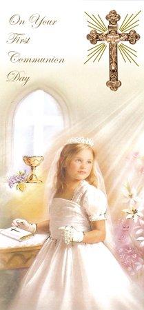 Boxed Card voor u op uw eerste Heilige Communie witte jurk kruis meisje