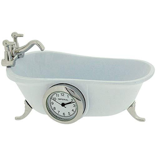 Miniatur Quartzuhr Weiße Vintage Badewanne Sammleruhr 9590
