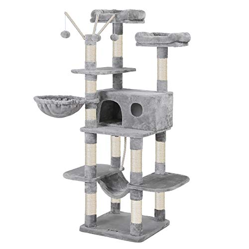 FEANDREA Cat Tree, Large Cat Tower, 64.6 Inches, Cat Activity Center with Hammock, Basket, Removable Fur Ball Sticks, Cat Condo, Light Gray UPCT087W01
