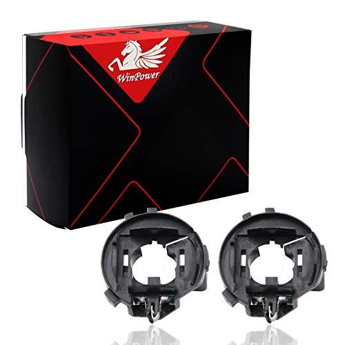 WinPower H7 HID Xenon Bulb Base Clips Adaptador Soporte Soporte Socket Accesorios Compatible con Sha-ran Ti-guan Golf 6/7 Sci-ro-cco Tou-ran, 2 Piezas
