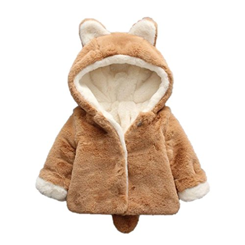 Rawdah Giacca del Mantello del Cappotto di Inverno Pelliccia della neonata Vestiti Caldi Spessi Baby Girl Warm Coat (0-6 Mesi, Cachi)