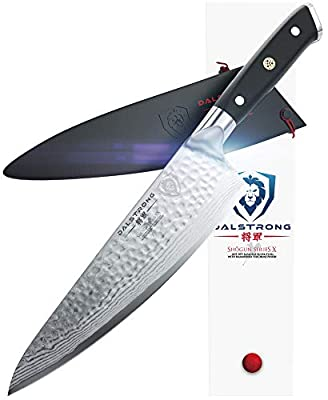 "DALSTRONG Chef's Knife - Shogun Series - Damascus - Japanese AUS-10V Super Steel - Vacuum Treated (8"" X Chef Knife, Black Handle)"