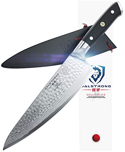 "DALSTRONG Chef's Knife - Shogun Series - Damascus - Japanese AUS-10V Super Steel - Vacuum Treated (8"" X Chef Knife, Black)"