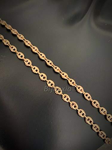 Bijouxia Cadena de eslabones de Grano de café Largo 60 cm, Chapado en Oro 18 Quilates, Joyas para Hombre