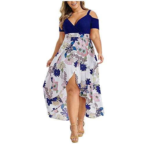 FAMILIZO -Vestidos De Fiesta Mujer Largos Elegantes Vestidos Largos De Fiesta Mujer Tallas Grandes Vestidos Manga Corta Mujer Sin Hombro Vestidos Mujer Vestidos Mujer Verano Flores (4XL, Azul # 2)