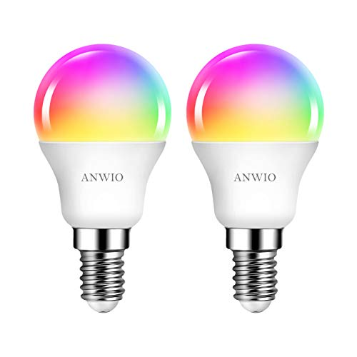WLAN Smart Led Lampe, E14 5W Dimmbar Glühbirne G45 40w Leuchtmittel Mehrfarbige RGB Wifi Birne Sprachsteuerung, Bluetooth LED Lampe Kompatibel mit Amazon Alexa Echo,Echo Dot Google Assistant, 2 Pack