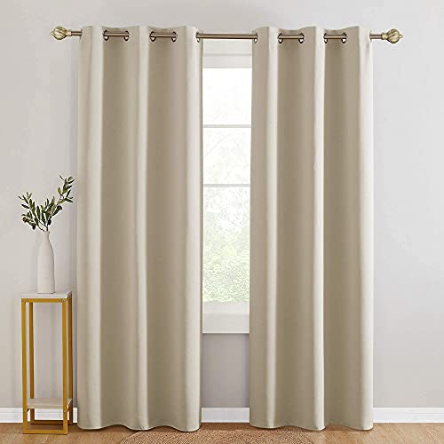 Saixi Light Beige Blackout Curtains with Grommet Top 42x72 Inch Soft Curtain Durable Light Blocking Curtain for Living Room Bedroom 42x72 Inch Light Beige 1 Pair