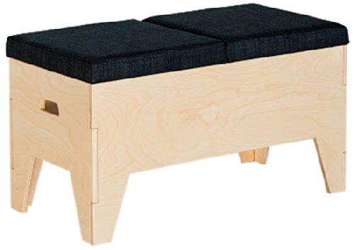 RADIS Tabouret en boîte en Bois de chêne huilé/Noir 75 x 37 x 42 cm