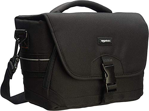 AmazonBasics - middelgrote schoudertas voor SLR-camera en accessoires, zwart met grijs interieur.