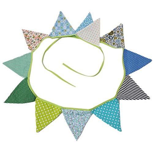 HYLEI Cotton Fabric Banners Pennant Wedding Hanging Flag Bunting Decor Party Birthday Wedding Garland Tent Decor