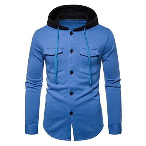 YAYAKI Kapuzenpullover Herren Mode Einfarbig Schaltflächen Lange Ärmel Shirt Bequem Freizeit Tasche Langärmliges T-Shirt Hoodie (Blau,2XL