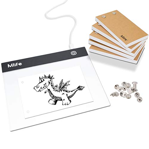 Mlife Flip Book Kit - A5 LED Light Box for Drawing and Tracing & 300 Sheets Animation Paper with Binding Screws for Flip Books A5 Flipbook Kit