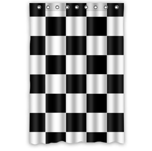 ZHANZZK Black White Checkered Pattern Waterproof Bathroom Shower Curtain 48x72 Inches