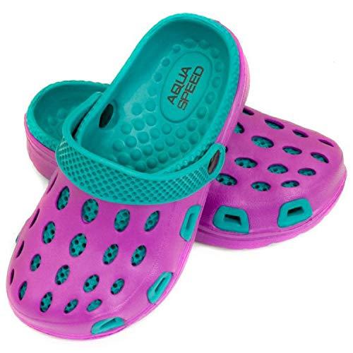Aqua Speed Badeschuhe   Clogs für Kinder   Pantoletten Schwimmbad   Badepantoletten   Baden Latschen rutschfest   Violett - Blau   Gr. 28   Silvi