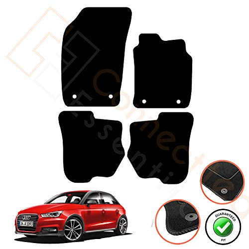 Fully Custom Tailored Vehicle-Specific Deluxe Car Mats for A1 Audi 2009 Onwards - Set of 4 Pieces with Security Clips, Black w  Black Trim 5002825 by Connected Essentials
