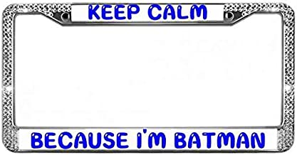 ken fi Keep Calm Because I'm Batman License Plate Frame,Glitter License Plate Frame Hybrid CustomLicense Plate Frame Clear Crystal Bling 12