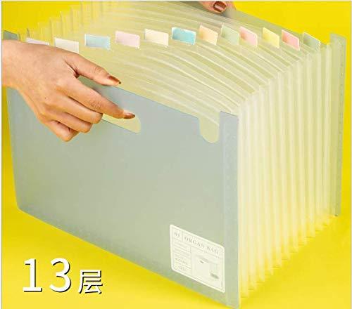 ドキュメントスタンド 13ポケット A4 書類ケース ファイルボックス 自立型 書類/ファイル整理 収納 大容量 ブルー