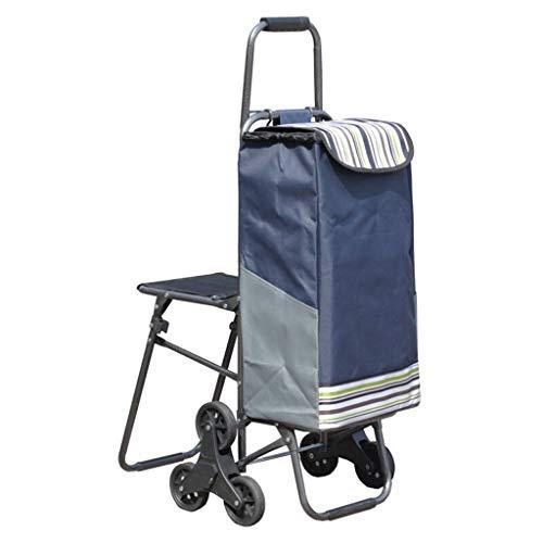 La voiture carrée se pliante pousser-tirer la voiture-sac à provisions de caddie peut s'asseoir la voiture de chariot à quatre roues 47 * 56 * 60CM (Color : Blue)