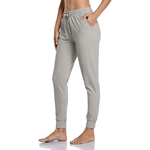 Gimdumasa Jogginghose Damen Slim Fit Baumwolle Sporthose Freizeithose mit Streifen Traininghose Sweathosen mit Seitentaschen für Jogging Laufen Fitness GI06 (Grau, X-Large)
