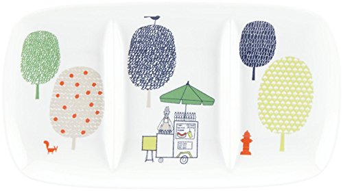 Kate Spade New York Hopscotch Drive About Town White Porcelain 3-Part Divided Serving Tray by Lenox, 13.5""