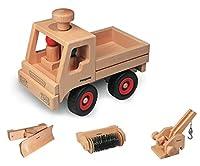 Fagus Unimog Set mit Schneepflug Kran und Kehrmaschine aus Holz