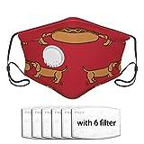 N/W Mascarillas rojas para perros calientes lavables a prueba de polvo, máscara reutilizable, equipado con válvula de respiración y 0/2/6/10 filtros bandanas