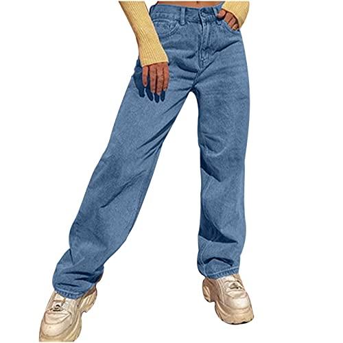Ronony Damen Streetwear Frauen Jeans Mode Patchwork Harajuku Aesthetic Pants Jeans Glatte Jeans Jeans mit hoher Taille 90er Jahre Vintage Jeanshose Straight Leg Hose mit Hoher Taille Y2k Hose