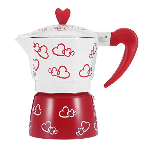 LANTRO JS - Cafetera duradera, hervidor de café, cafetera de aluminio con estampado de corazón rojo, cafetera doméstica para oficina en casa(L)