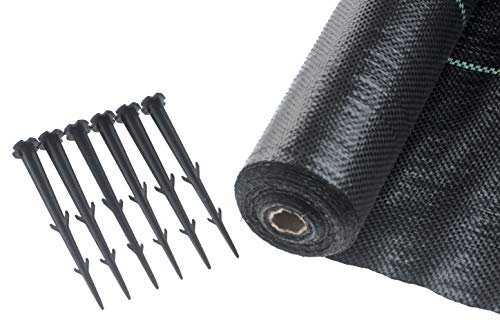 Brackit Weed Membrane Roll and Peg Set, 1m x 30m, Heavy Duty 100gsm Weed Control Fabric – For...