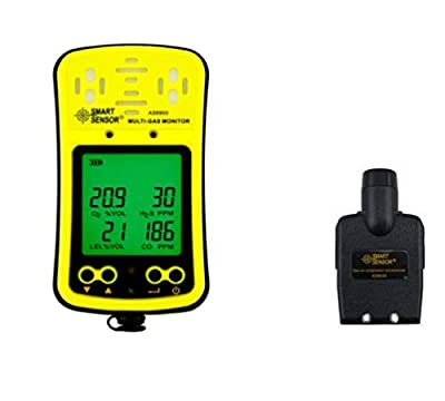 Digital Multi Gas Monitor LCD Display Rechargeable Battery Powered Alarmable Portable 4 in 1 Gas Detector Meter Tester Analyzer with Professional Sampling Pump