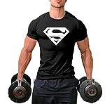 InleaderStyle Men Fittness S Logo Fitness Sport Gym T-Shirt Black L