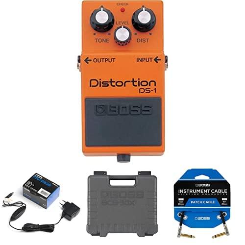 Paquete de pedal BOSS DS-1 Distortion con adaptador PSA, pedalera BCB-30X y tres cables de conexión de pedal para pedaleras